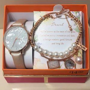 Rg Watch Set W/birthstone Pearls/jun Ladies watch